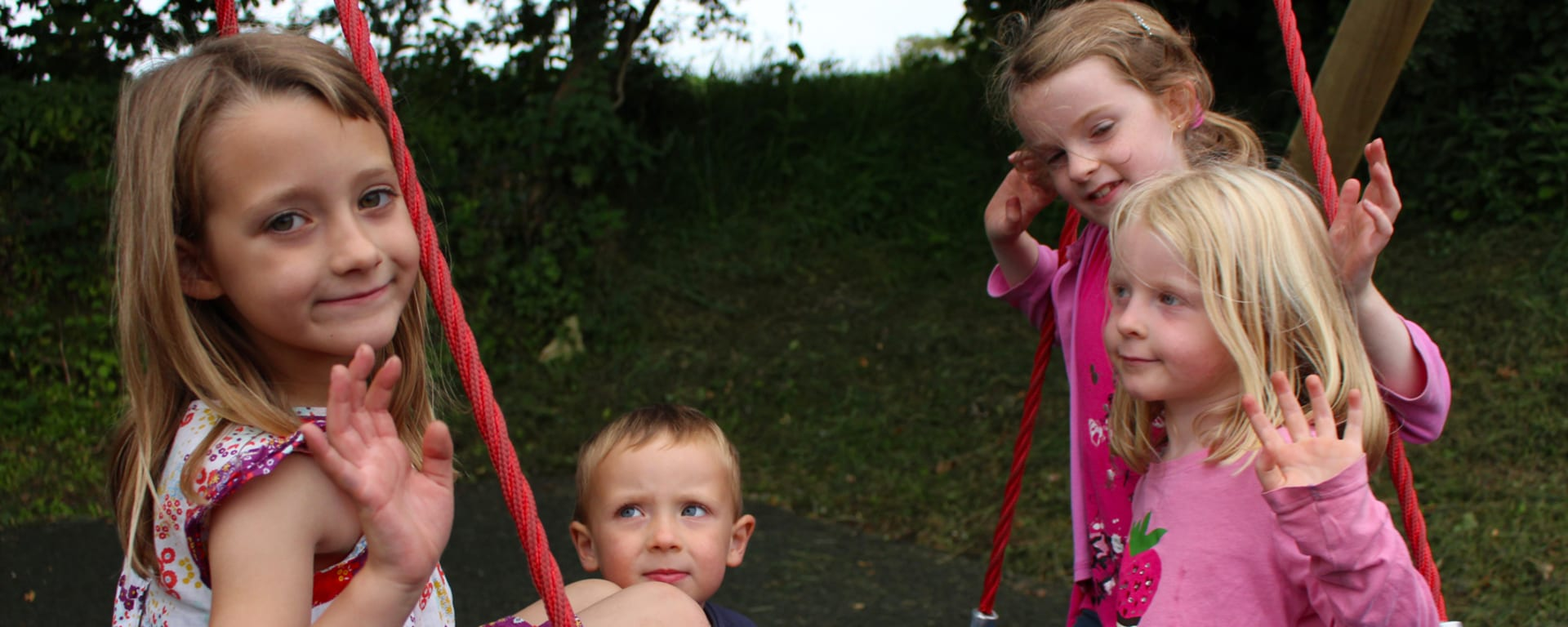 Children on nest swing at Tamar Lakes