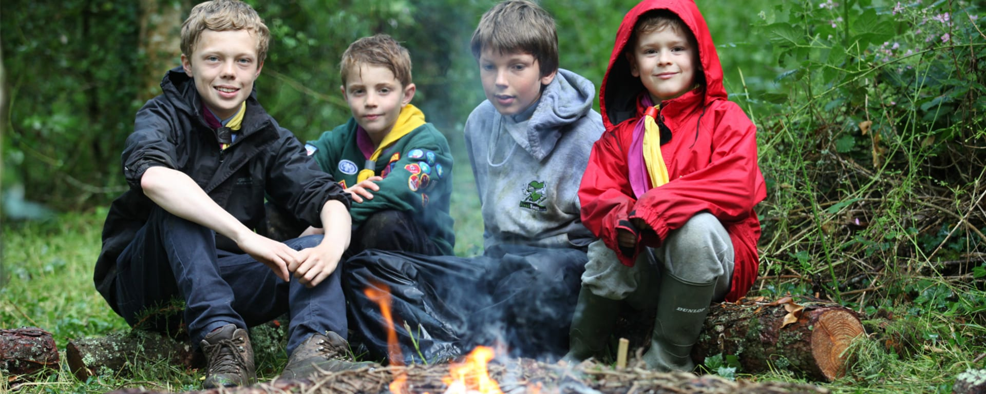 Scouts with bonfire
